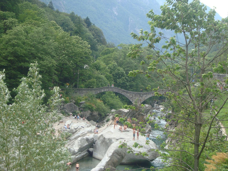 so called Roman bridge near village Lavertezzo Val Verzasco