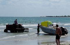 So kann man auch Boote ins Wasser ziehen.