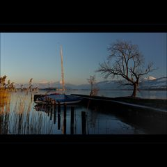 soir d'hîver au lac de Zurich