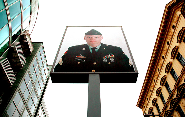 Soldier Harper at Checkpoint Charlie
