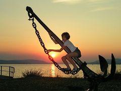 Sommer-Sonnenuntergang am Bodenseee mit Aufhellblitz