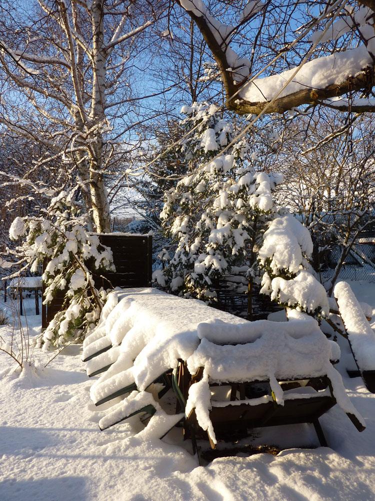 Sommersitzplatz im Winter