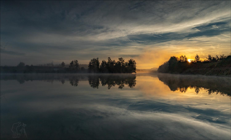 Sonnenaufgang am Baggerweiher.