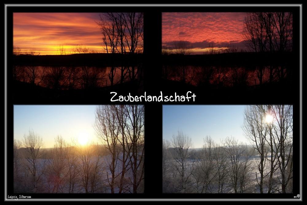 Sonnenaufgang am Silbersee in Leipzig