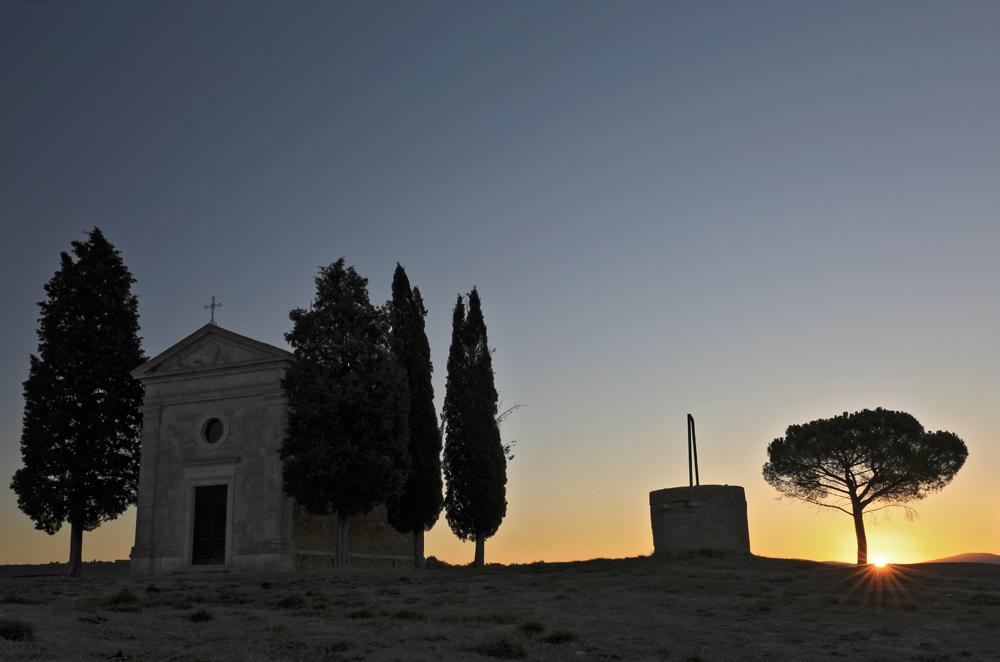 Sonnenaufgang an der Cappella della Madonna di Vitaleta