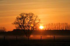 Sonnenaufgang mit leichtem Nebel