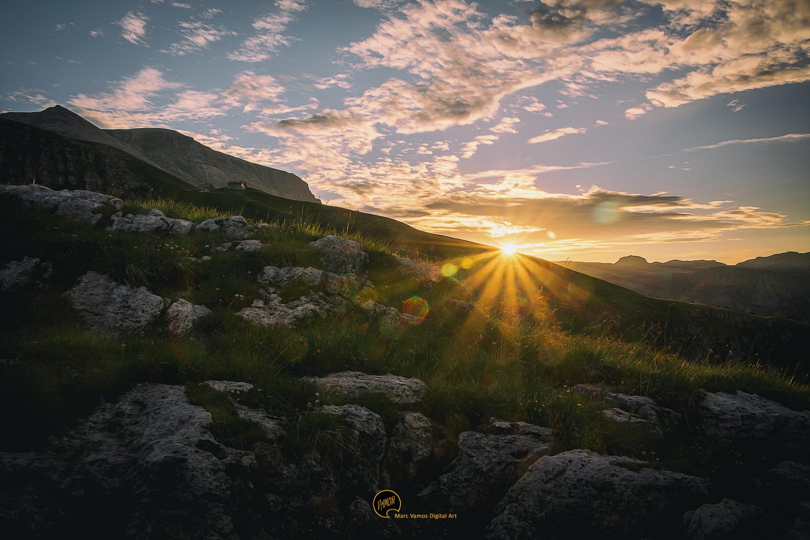 Sonnenaufgang unterhalb der Stevia-Hütte