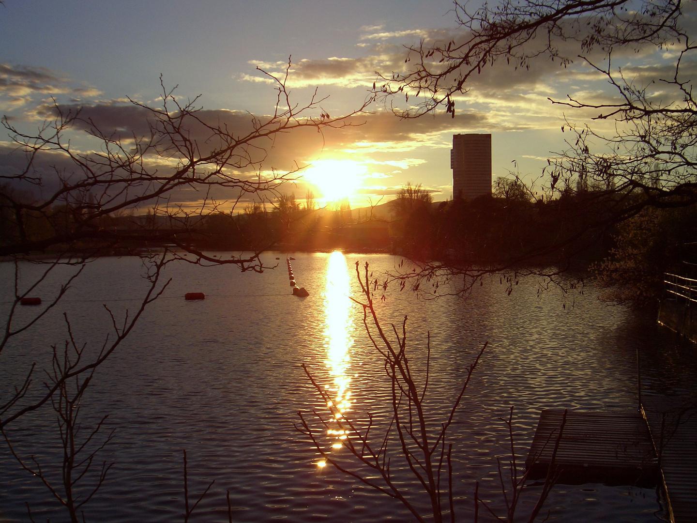 Sonnenuntergang alte Donau Wien 2006