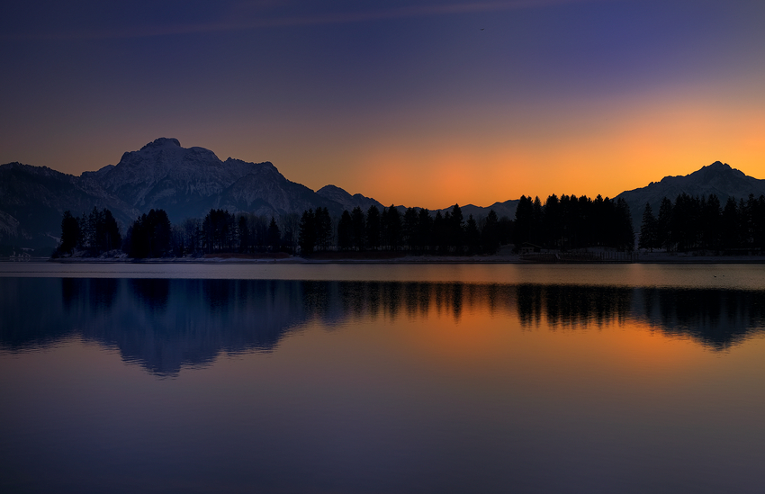 Sonnenuntergang am Forggensee