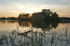 Sonnenuntergang am Fühlinger See in Köln