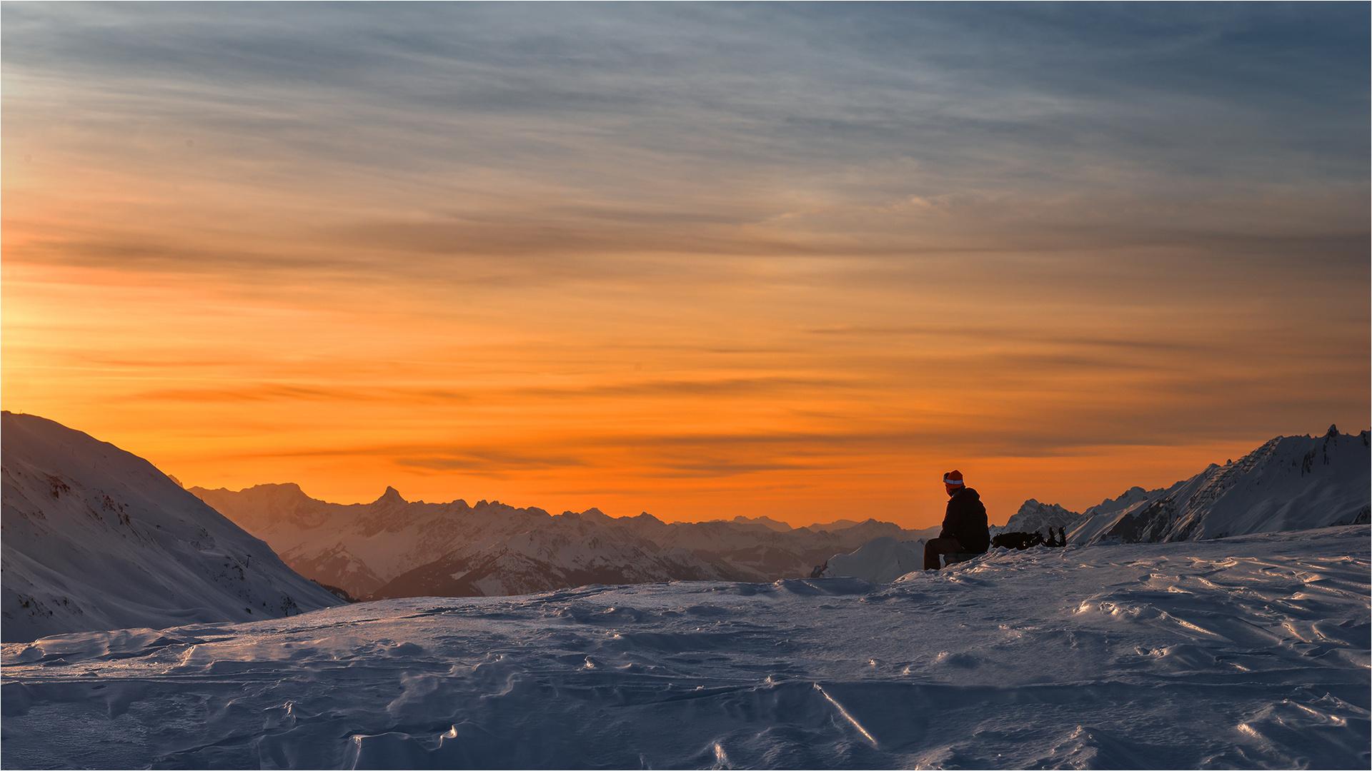 Sonnenuntergang am Galzig