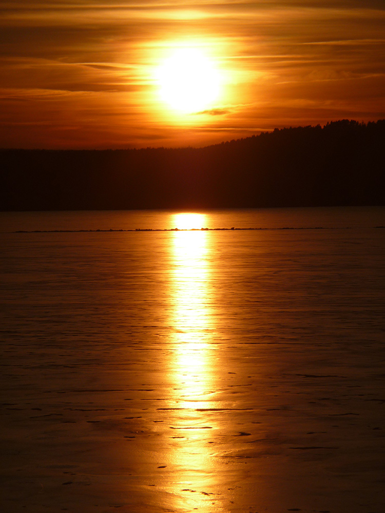 Sonnenuntergang am großen Brombachsee Anfang Februar 2009