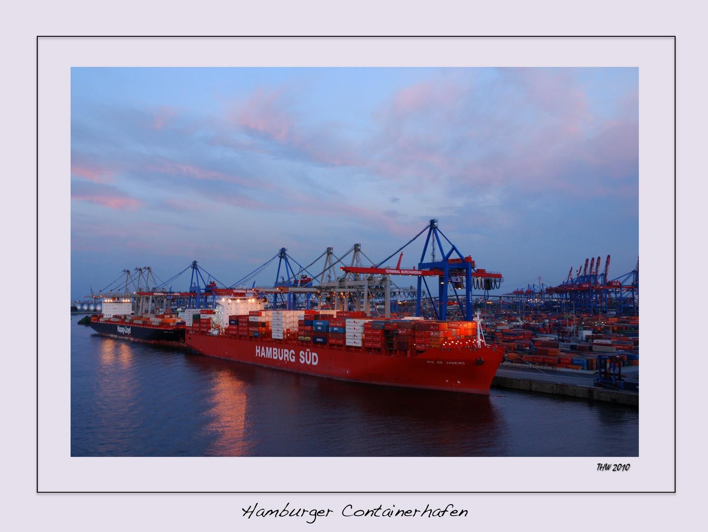 Sonnenuntergang am Hamburger Containerhafen 2