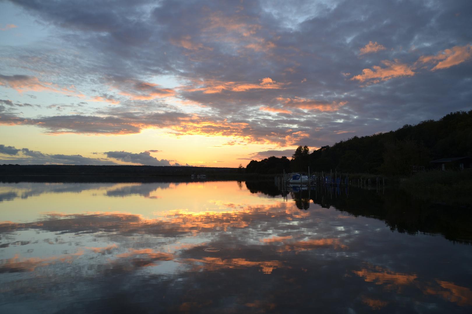 Sonnenuntergang am Hohendorfer See (Vorpommern)