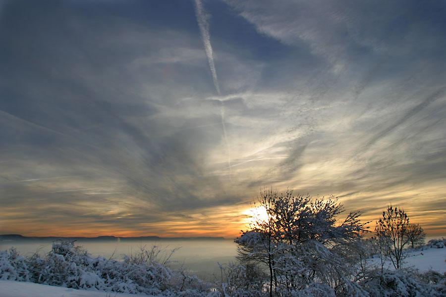 Sonnenuntergang am Hohenstaufen