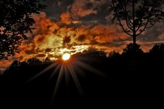 Sonnenuntergang am Jesenice-Stausee
