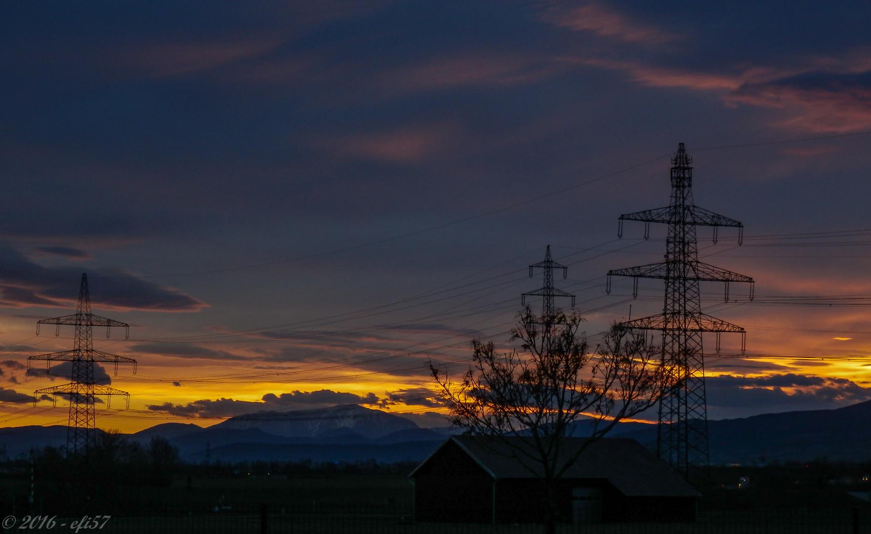 Sonnenuntergang am Rande von Wien