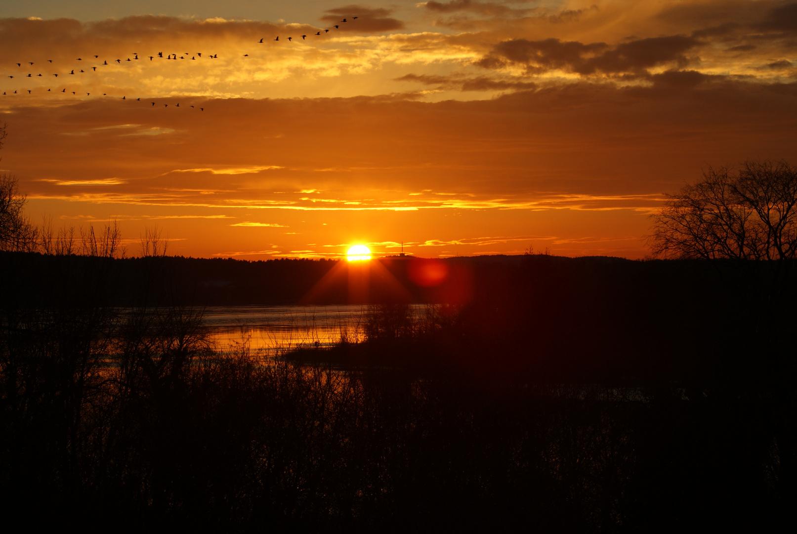 Sonnenuntergang am Schlänitzsee