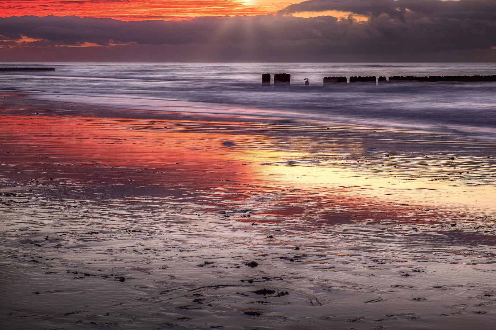 Sonnenuntergang am Strand bei Kampen