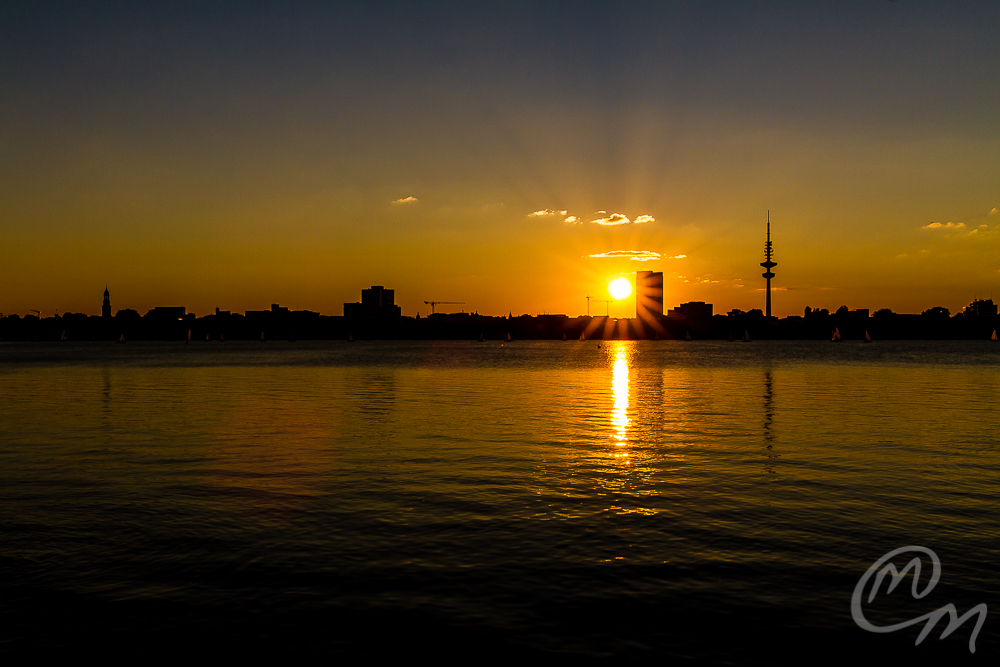 Sonnenuntergang an der Alster