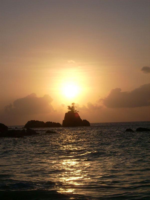 Sonnenuntergang an der Anse Solei