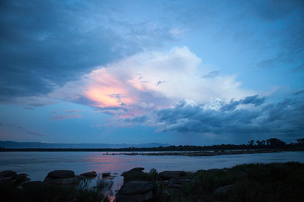 Sonnenuntergang auf den Mekong