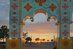 Sonnenuntergang auf der Feria Chiclana
