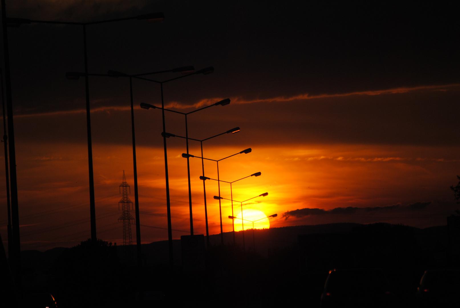 Sonnenuntergang auf Rheinbrücke Karlsruhe