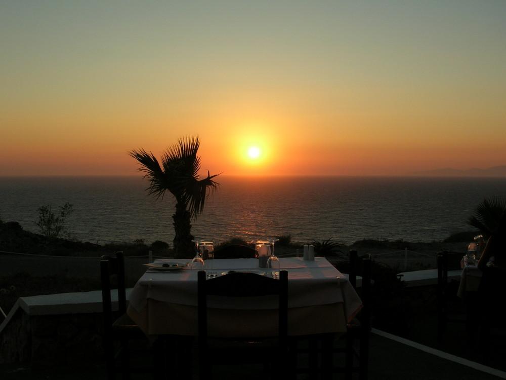 Sonnenuntergang auf Santorin im August 2005