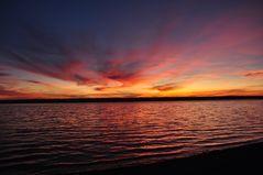 Sonnenuntergang aus der Herrschinger Bucht