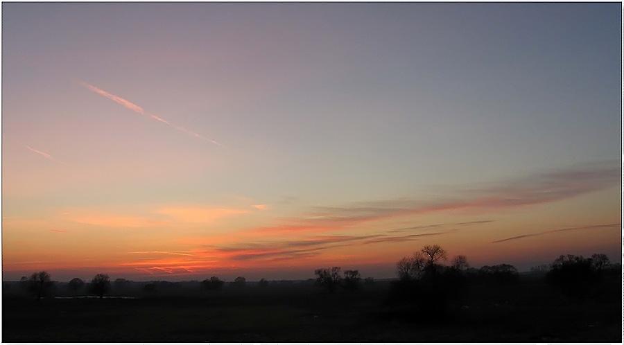 Sonnenuntergang bei minus 15 Grad