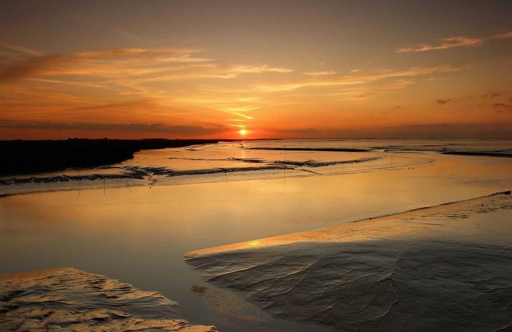 Sonnenuntergang Dollard Nord Groningen Niederlande