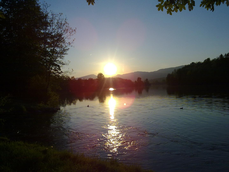 Sonnenuntergang Fluss Aare gestern Abend auf der Biketour :-)