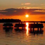 Sonnenuntergang im alten Hafen von Wismar