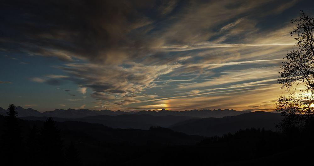 Sonnenuntergang im Emmenthal