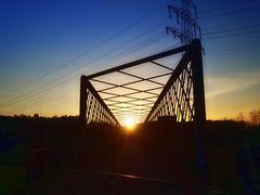 Sonnenuntergang im Nordsternpark in Gelsenkirchen