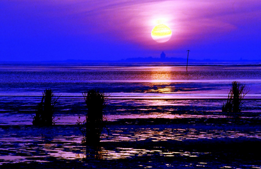 Sonnenuntergang im Wattenmeer by Thomas Ebelt