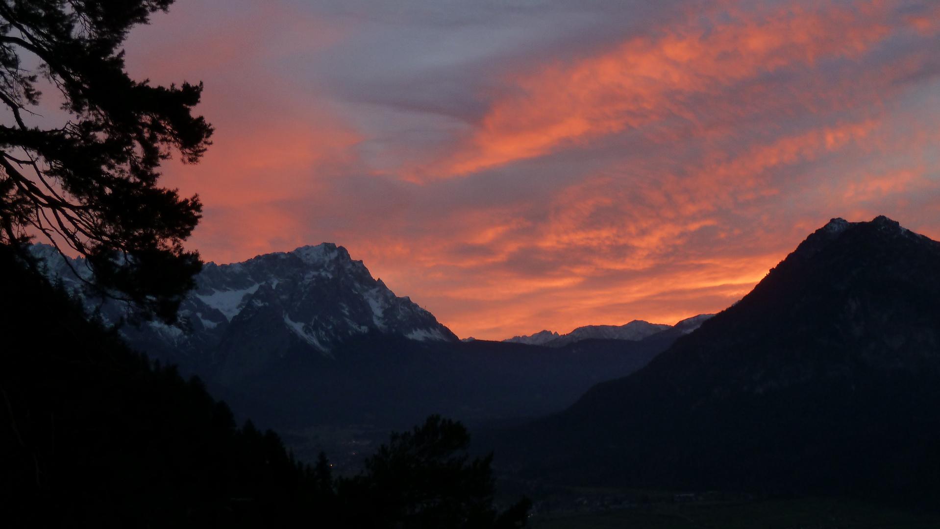 Sonnenuntergang im Werdenfelser Land