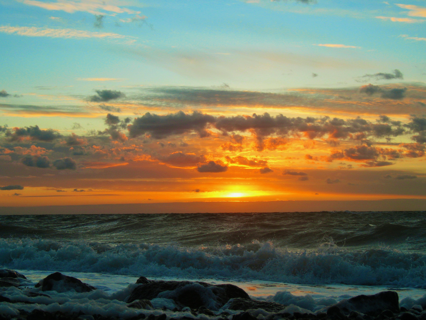 Sonnenuntergang im Winter 2015 auf Fehmarn