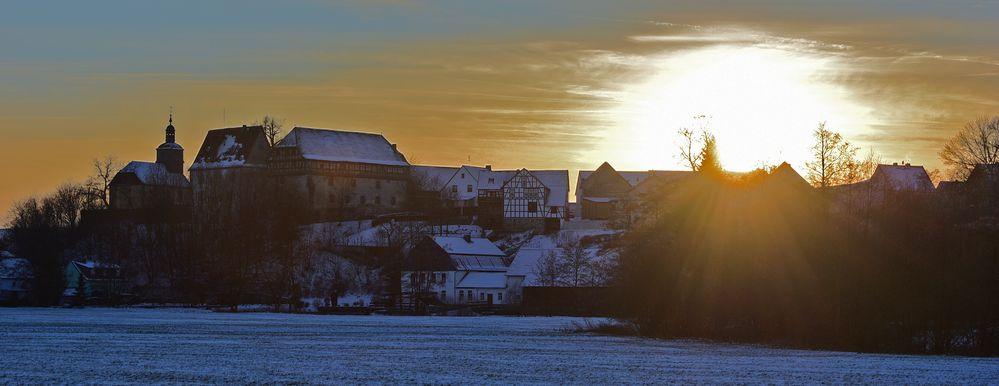 Sonnenuntergang in Burg Gemünden