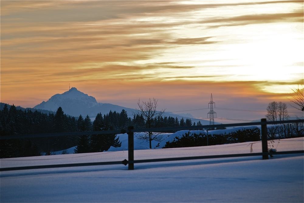 Sonnenuntergang in den Alpen Februar 2009
