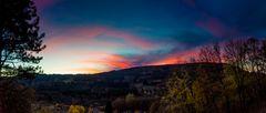 Sonnenuntergang in den Vogesen. Granges-sur-Vologne