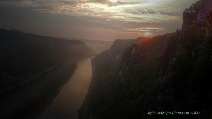 Sonnenuntergang in der Sächsischen Schweiz