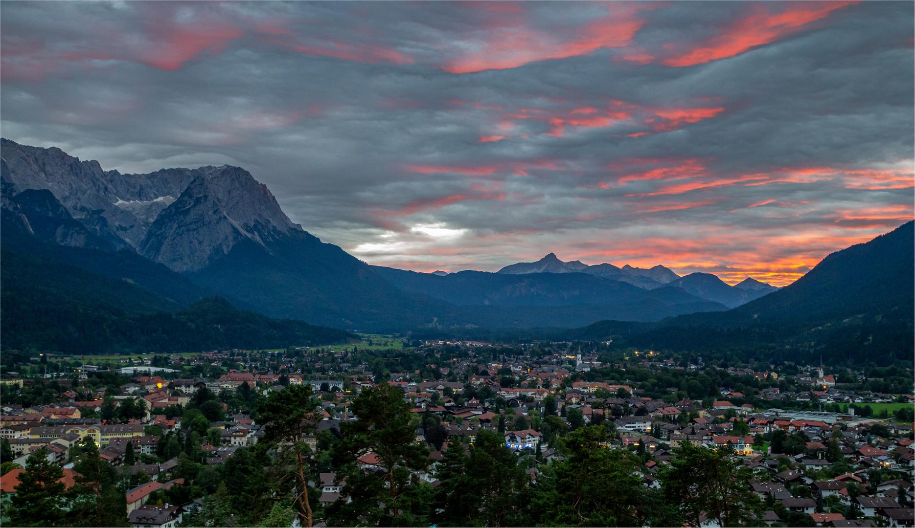 Sonnenuntergang in Garmisch