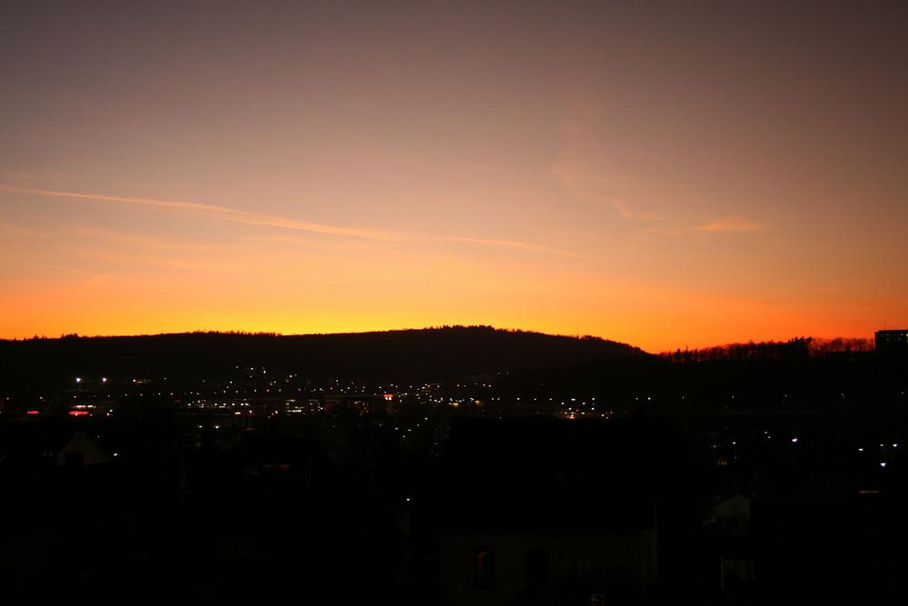 Sonnenuntergang in Siegen, nähe der Uni.