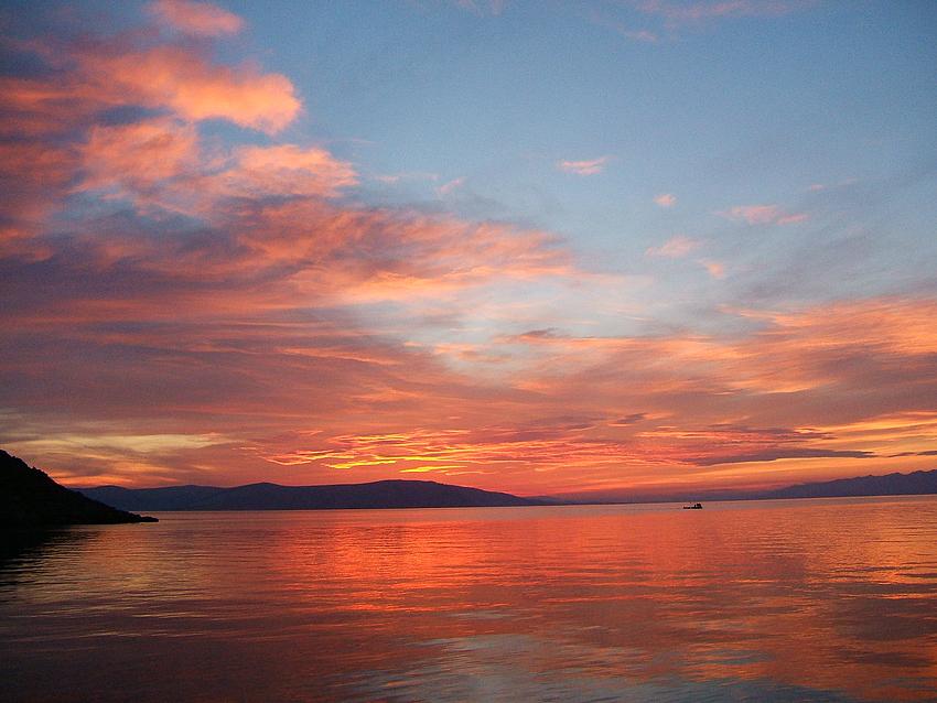 Sonnenuntergang in Sveti Jurai (Kroatien)
