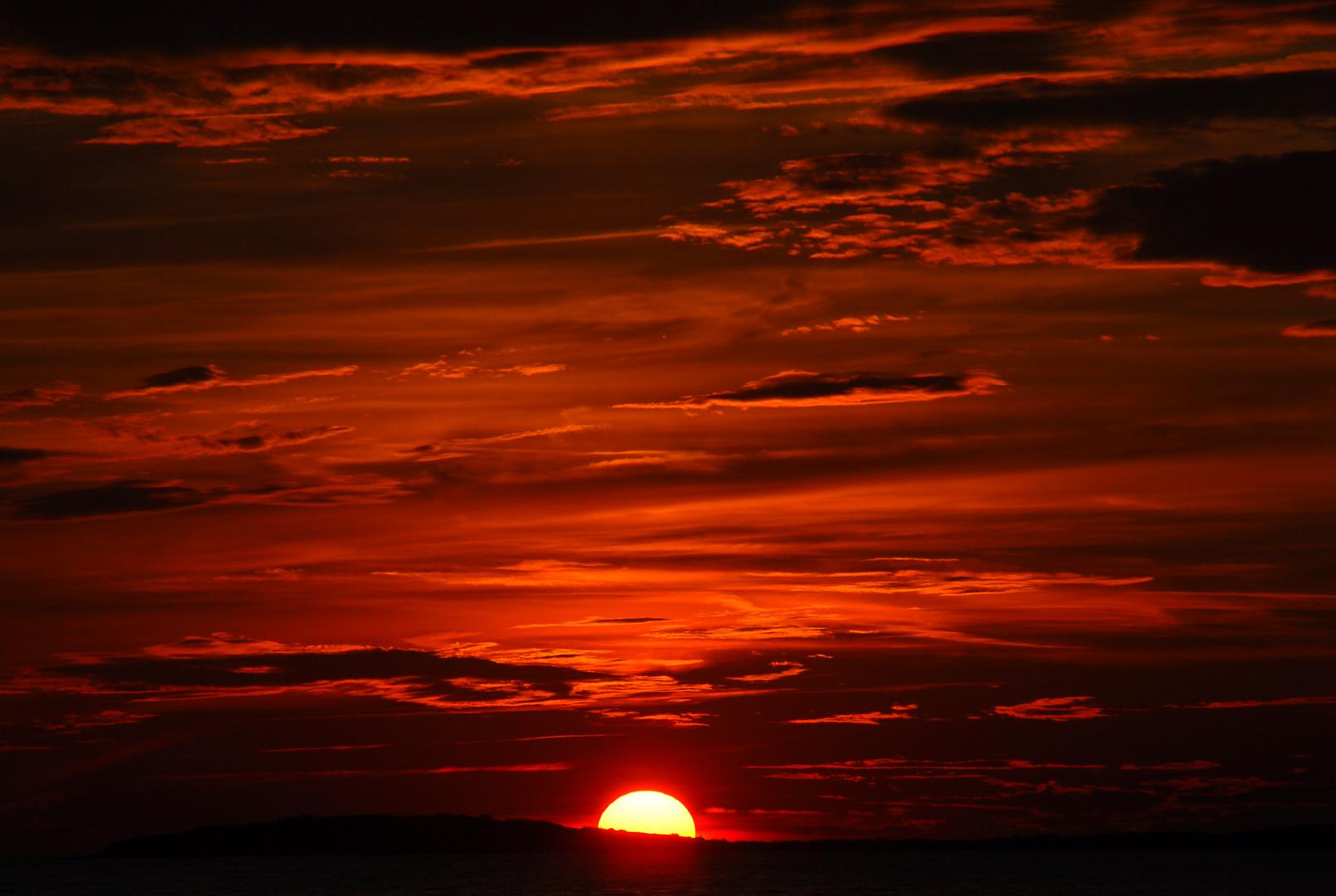 Sonnenuntergang Insel Losinj immer die gleiche Stelle