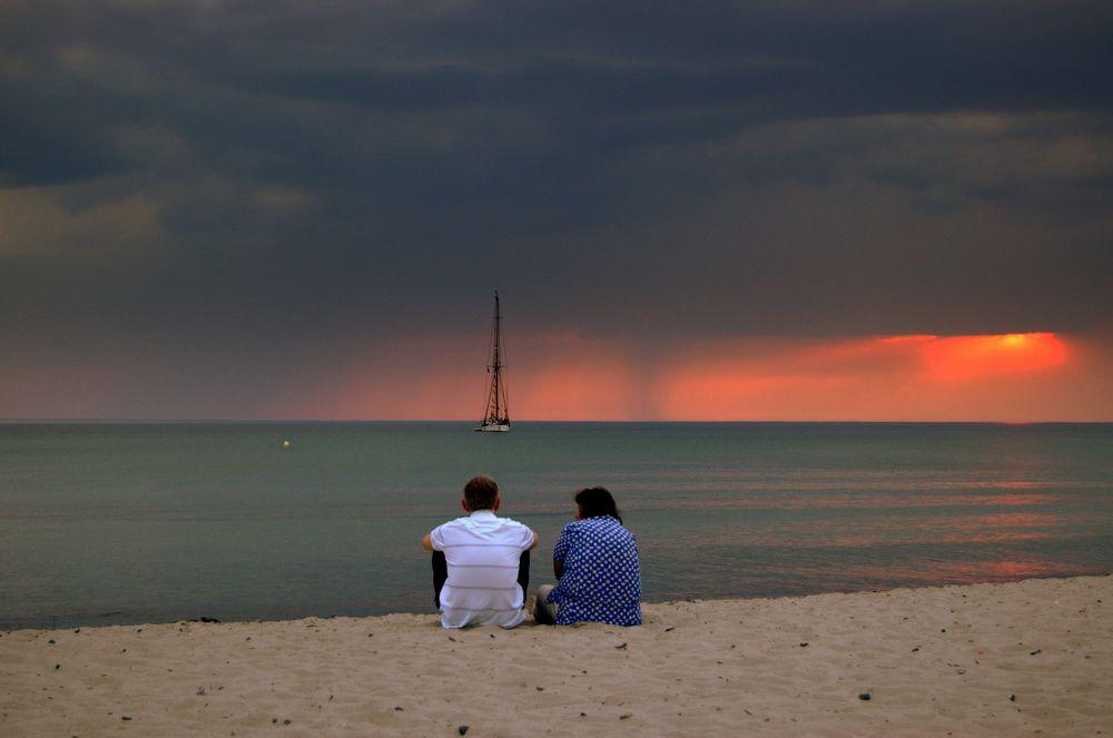 Sonnenuntergang mit Regen