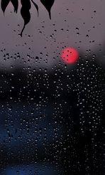 Sonnenuntergang mit Regentropfen