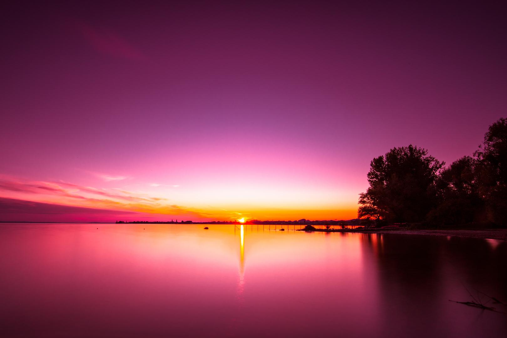 Sonnenuntergang mit Rotfilter